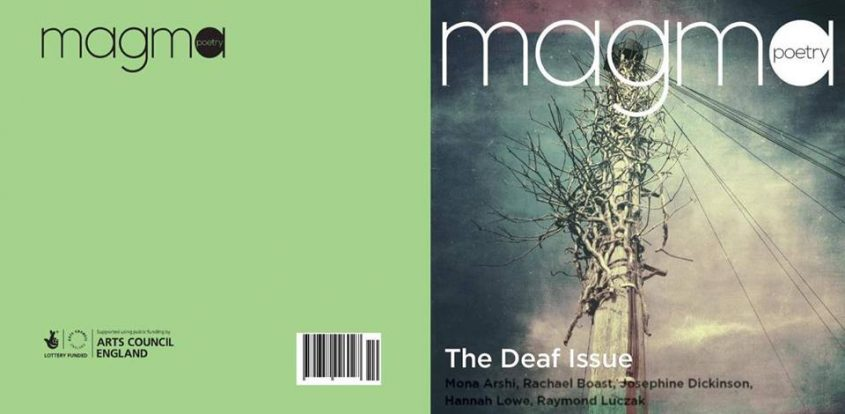 Image of front cover of Magma. Green copy. Telephone pole on the front with tangled branches. Moody image